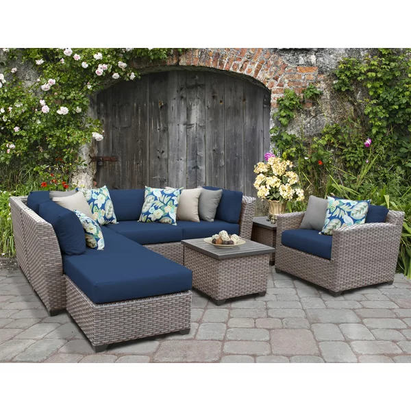 Merlyn 8 Piece Rattan Sectional Seating Group With Cushions Patio Furniture Sets Seating Groups Conversation Set Patio