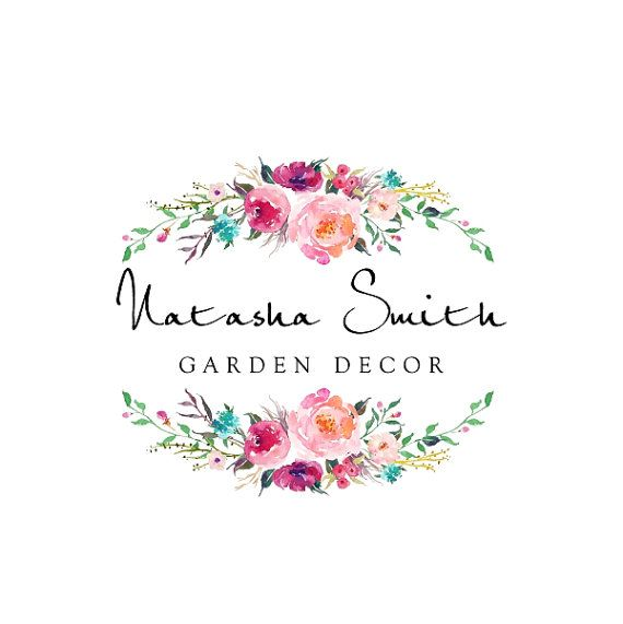 Premade Logo Design, Calligraphy Logo, Watercolor Floral