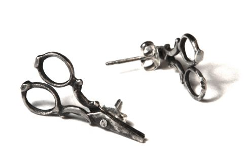 Scissors Earrings No. 67 by Tirana Jewelry. Made with recycled sterling silver in NYC.