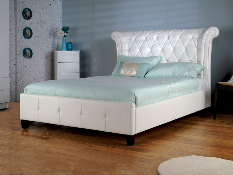 Epsilon White Faux Leather Bed Frame Krovati Leather Bed Bed