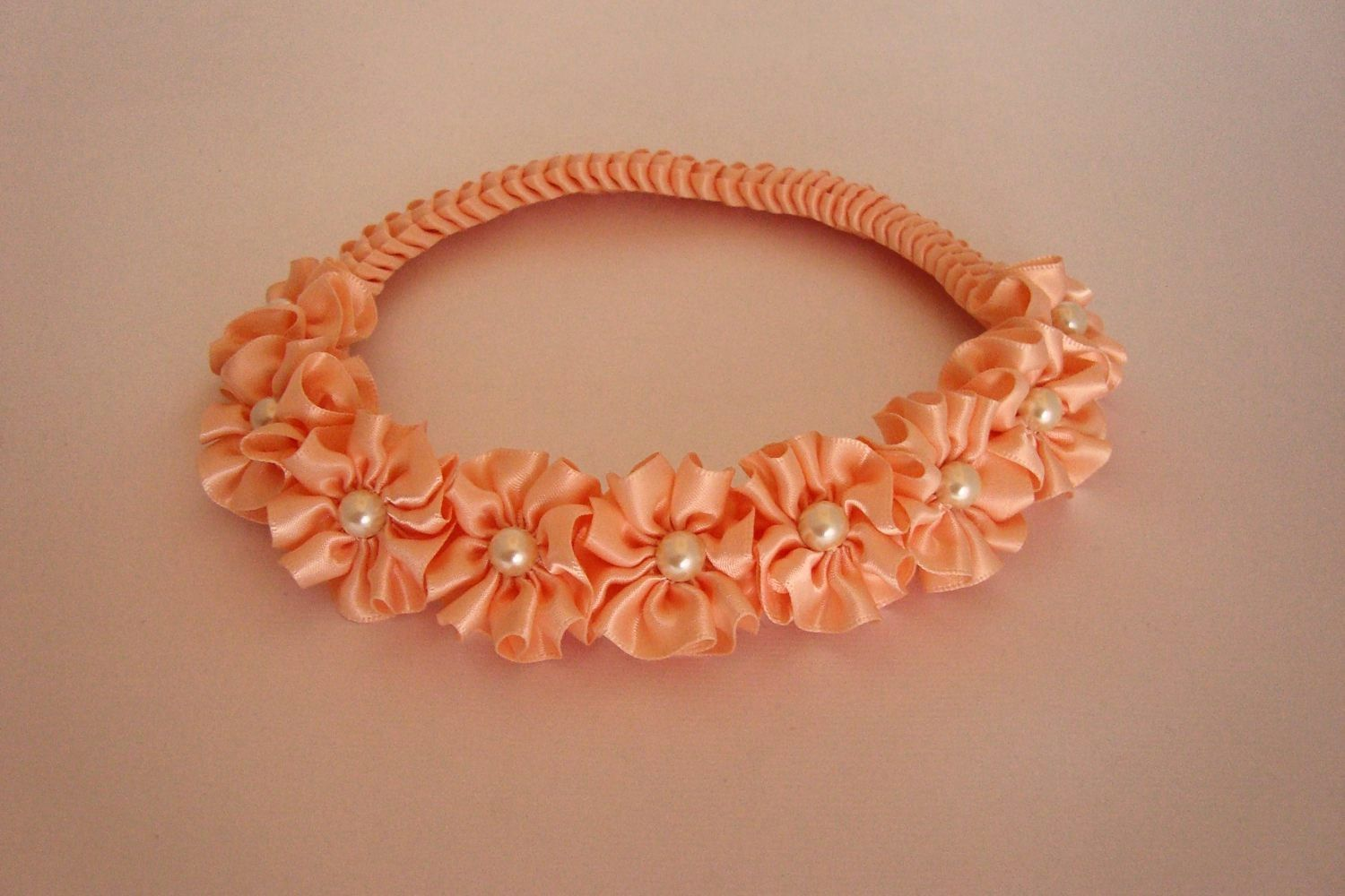 Peach Flower Girl Crown Wreath Braided Headband by PrettyToppings
