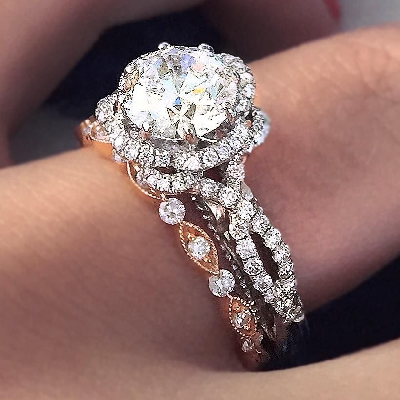 the most gorgeous mixed metal engagement ring and wedding With mixed metal engagement ring and wedding band