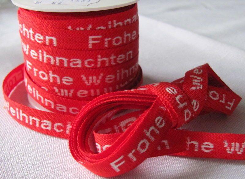 Geschenkband Frohe Weihnachten.Geschenkband Gewebtes Rotes Schleifenband Frohe