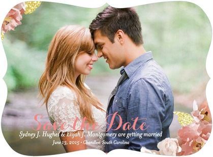 Sweetly Encircled - Signature White Photo Save the Date Cards - Mikan Ink - Taffy - Pink : Front