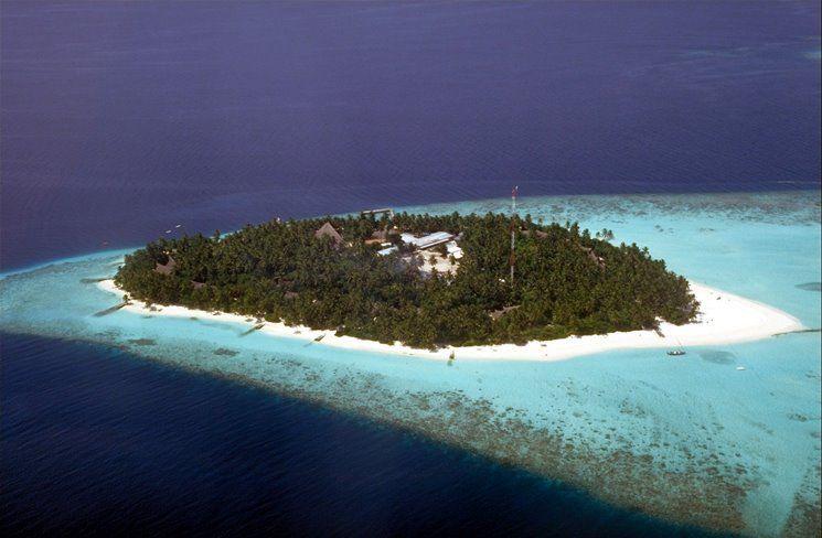 Aerial view at Fihalhohi Island Resort, for more details visit www.voyagewave.com
