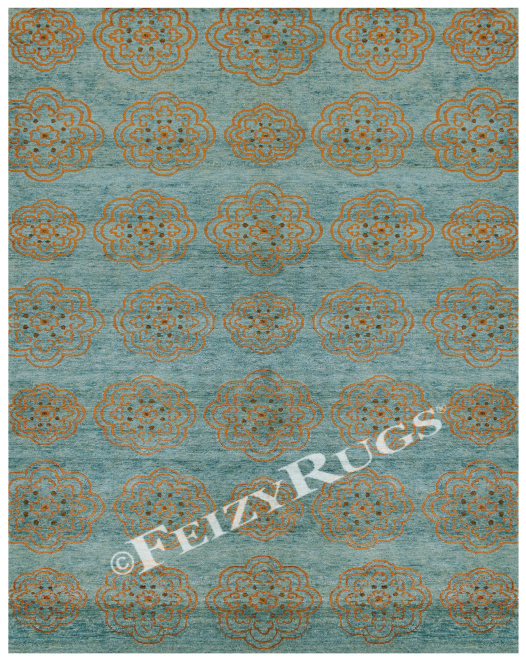 Feizy Rugs Qing 6065f Teal Area Rugs Silk Area Rugs