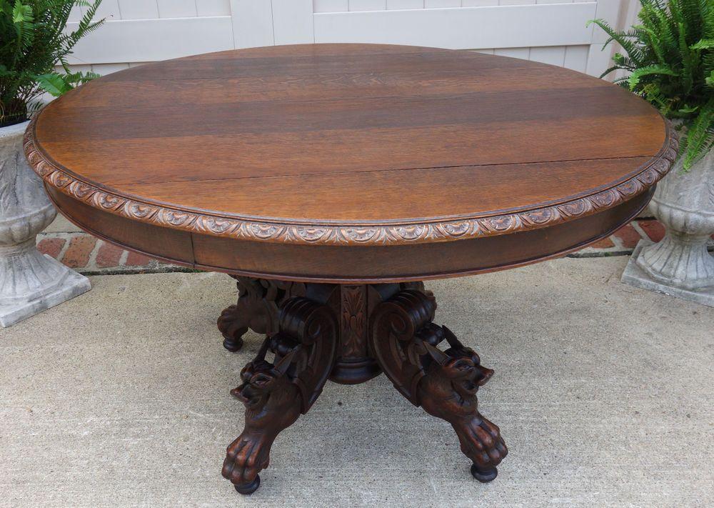 Antique French Carved Oak Round Dining Kitchen Table Griffin Hunt Renaissance Renaissance Antique French Furniture Dining Table In Kitchen French Antiques