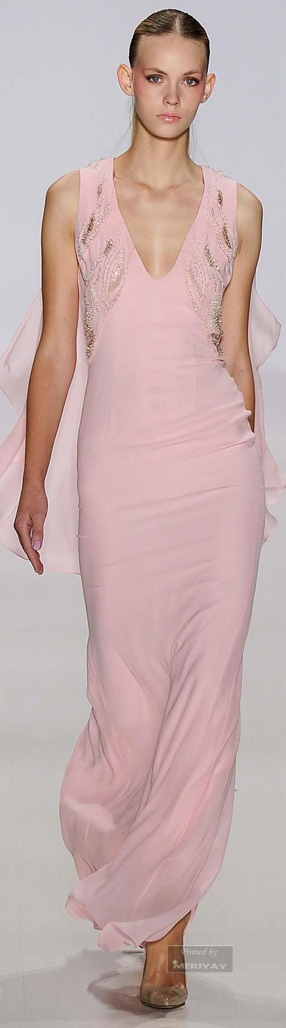 Pamella Roland.~ Evening Gown, Pink, Spring 2015.   Pink, Pink ...