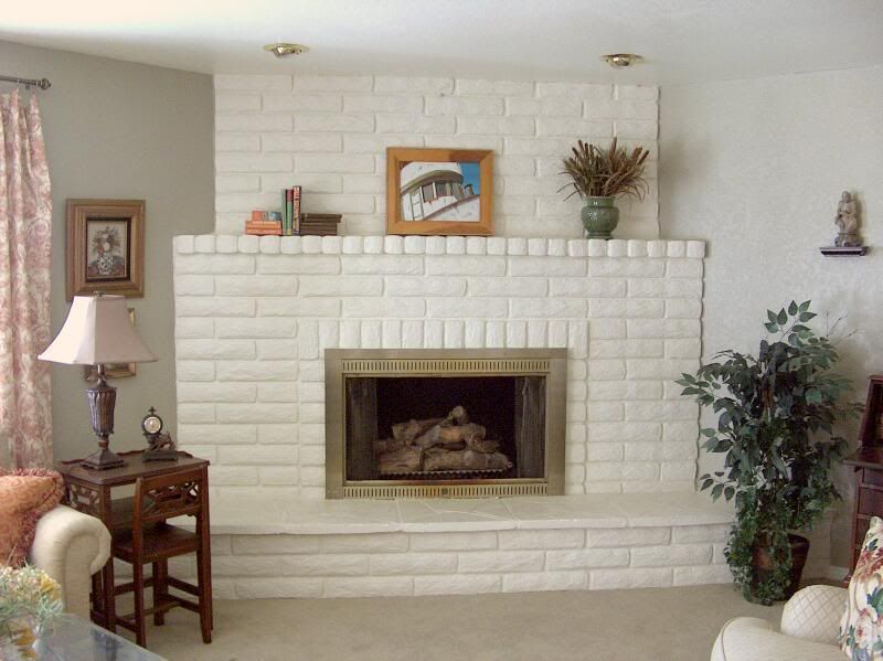 Please show me your painted brick fireplace. Home