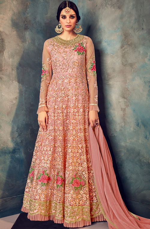 74ee8c8c09 COLOR : Blush Pink FABRIC : Top - Net, Bottom - Santoon, Inner - Santoon,  Dupatta - Chiffon WORK : Heavy Resham & Zari Embroidery, Motifs, Stones, ...