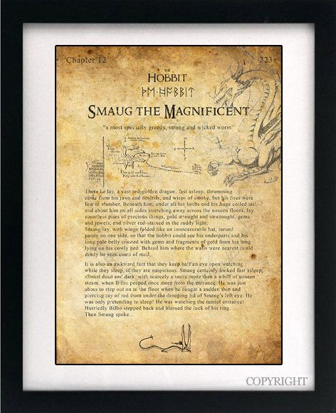 The Hobbit Smaug the Dragon Art Book Print - A3 or A4 Large Vintage ...