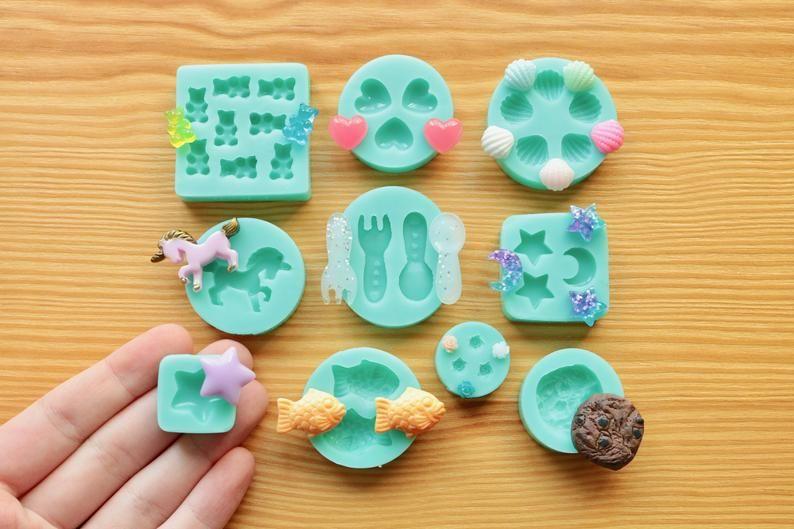 10 pc Assorted Silicone Mold Set!! Miniature Heart