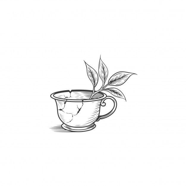 Broken tea cup drawing illustration isolated Premium Vector