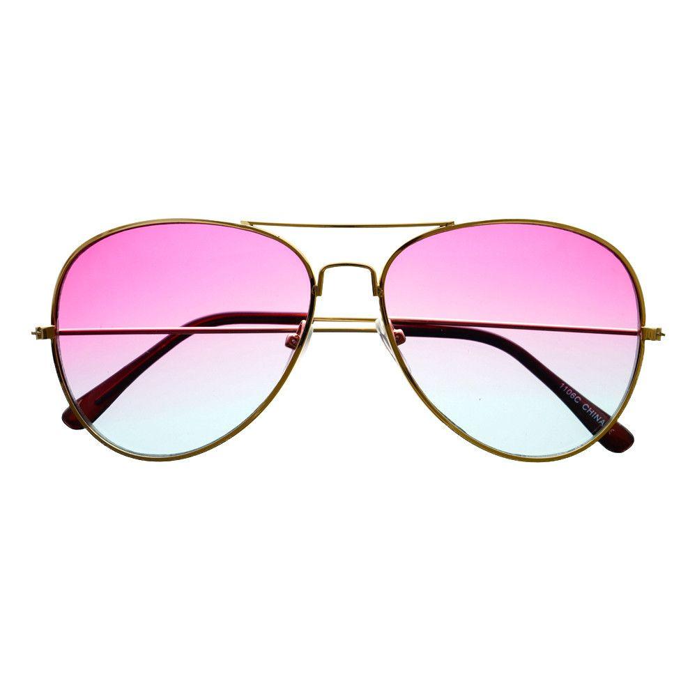 0c53635d6712  retro  vintage  fashion  two  tone  lens  gold  metal  frame  aviator   sunglasses  womens  mens  blue  pink  Lens