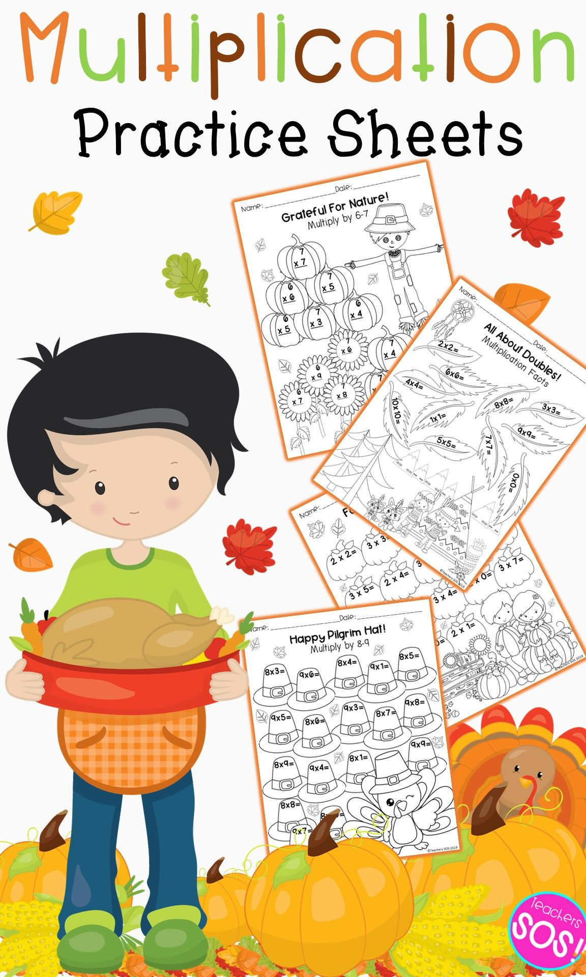 MultiplicationFacts Worksheets Thanksgiving (With