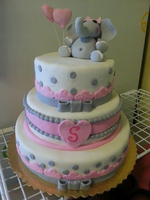 Pintrest Two Tier Pink Grey Christening Cakes