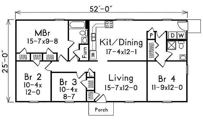 1300 sq foot floor plan   1300 square feet, 4 bedrooms, 2 batrooms ...