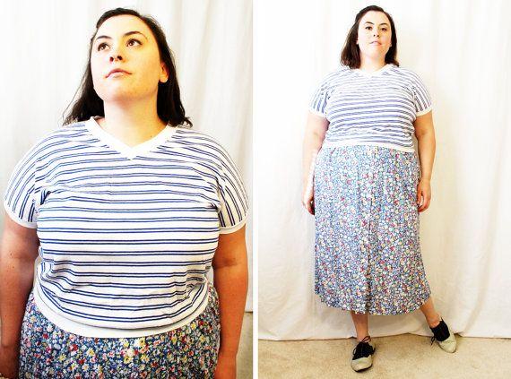 Plus Size - Vintage Blue & White Stripe V-Neck Dolmen Sleeve Shirt by TheCurvyElle