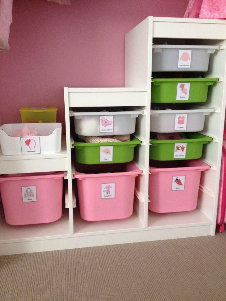 millie 39 s ikea trofast storage unit with all her clothes easy for her to find and pack away. Black Bedroom Furniture Sets. Home Design Ideas