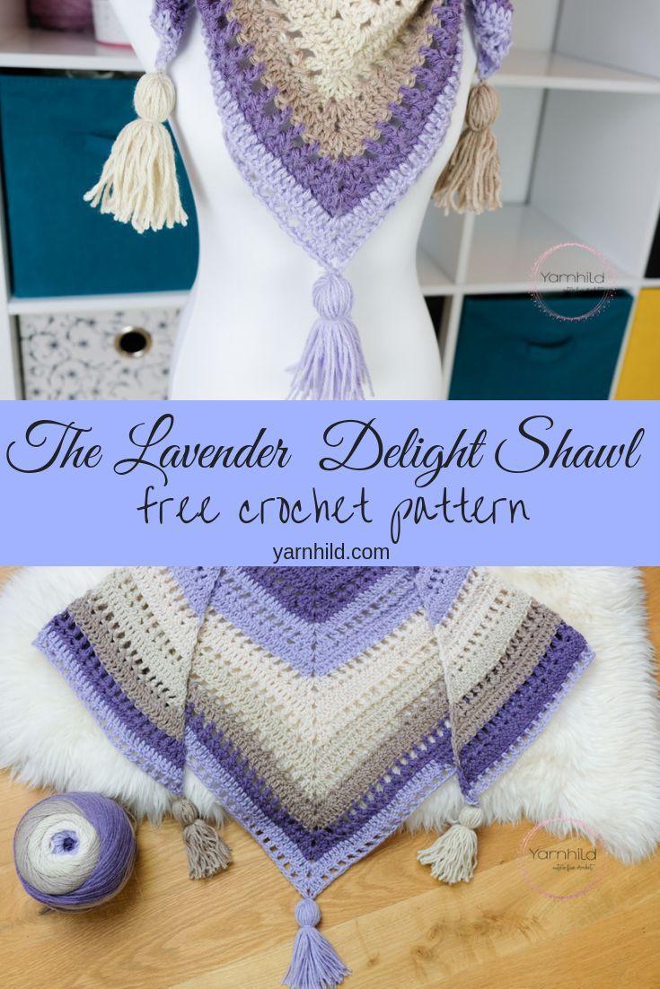 Lavender Delight - Crochet shawl pattern — free crochet pattern - Yarnhild #shawlcrochetpattern