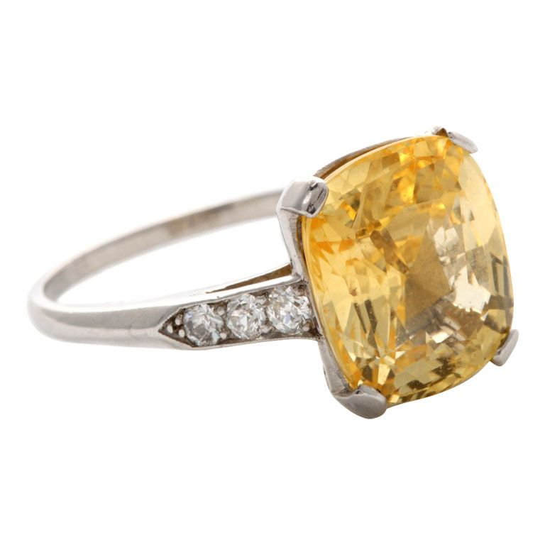 Superb Yellow Sapphire Diamond Platinum Ring 1stdibs Com Yellow Sapphire Ring Engagement Yellow Sapphire Platinum Diamond Rings