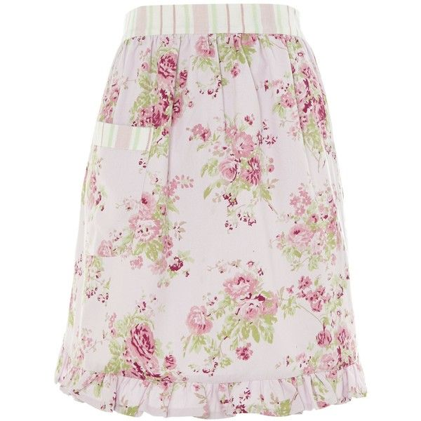 Shabby Chic Meadow Floral Rose Apron ($3.59) ❤ liked on Polyvore featuring home, kitchen & dining, aprons, skirts, apron, shabby chic, clearance, floral apron and cotton apron