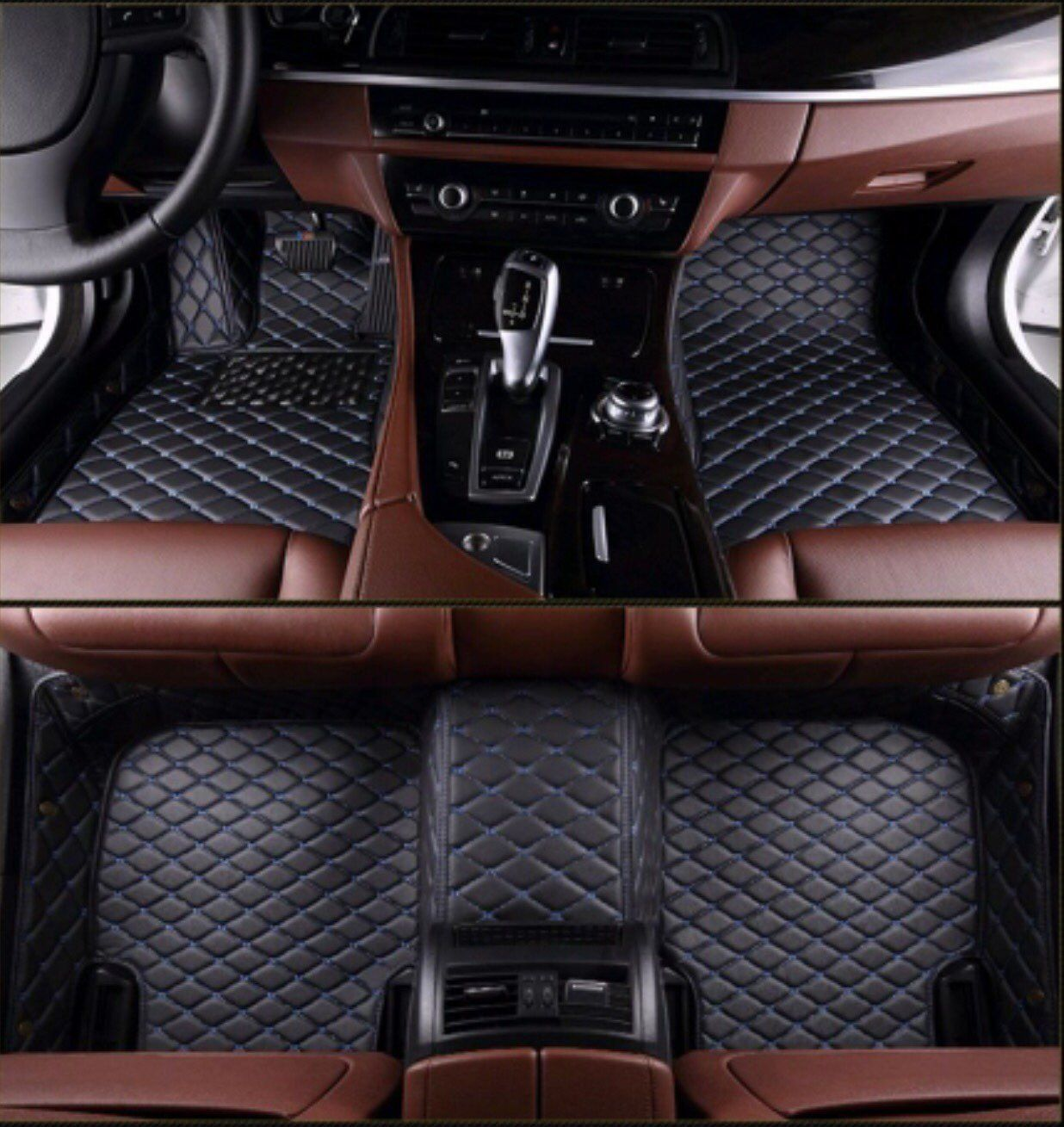 Luxury Diamond Stitched Floor Mats Black With Blue Stitching Acura Full Set Luxury Car Interior Luxury Diamonds Vw Jetta