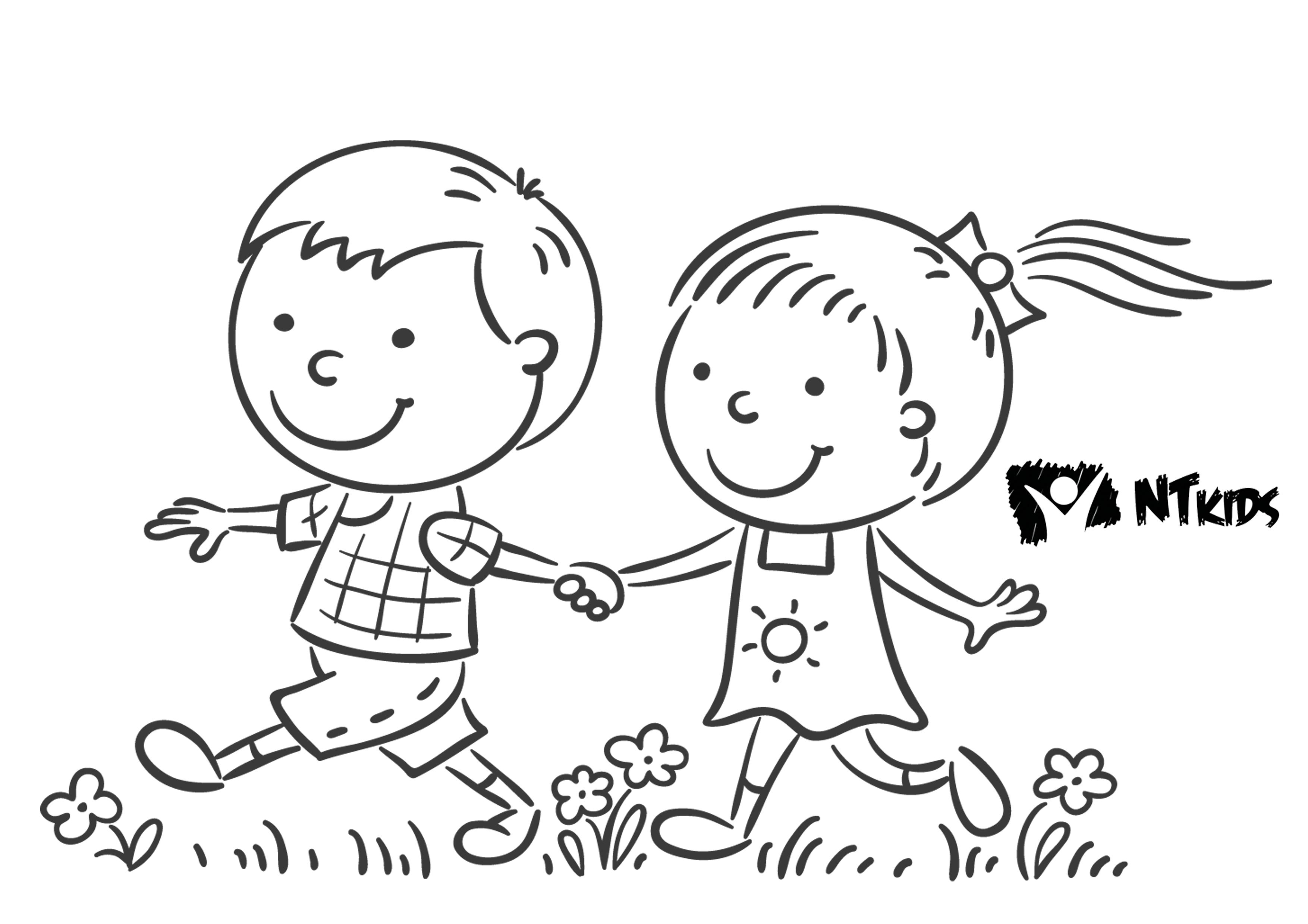 Colorir Criancas De Maos Dadas Png 3508 2480 Criancas De Maos