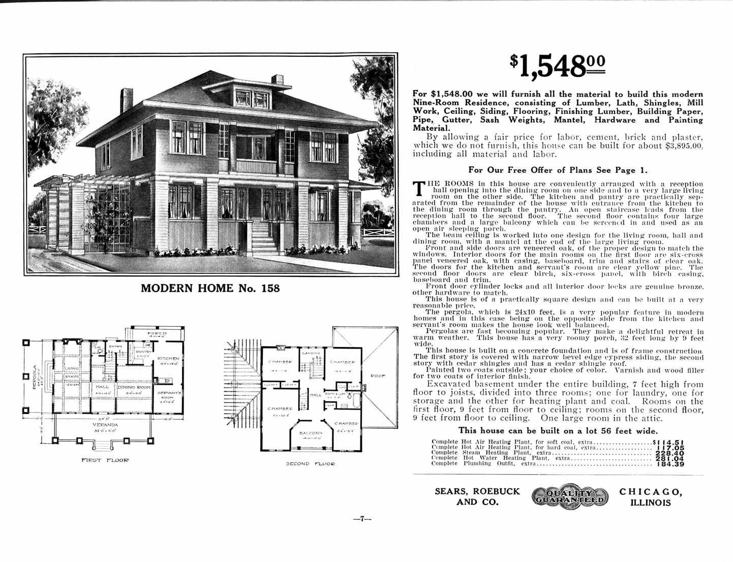 Modern no 158 sears home i love the sleeping porch my for House plans with sleeping porch