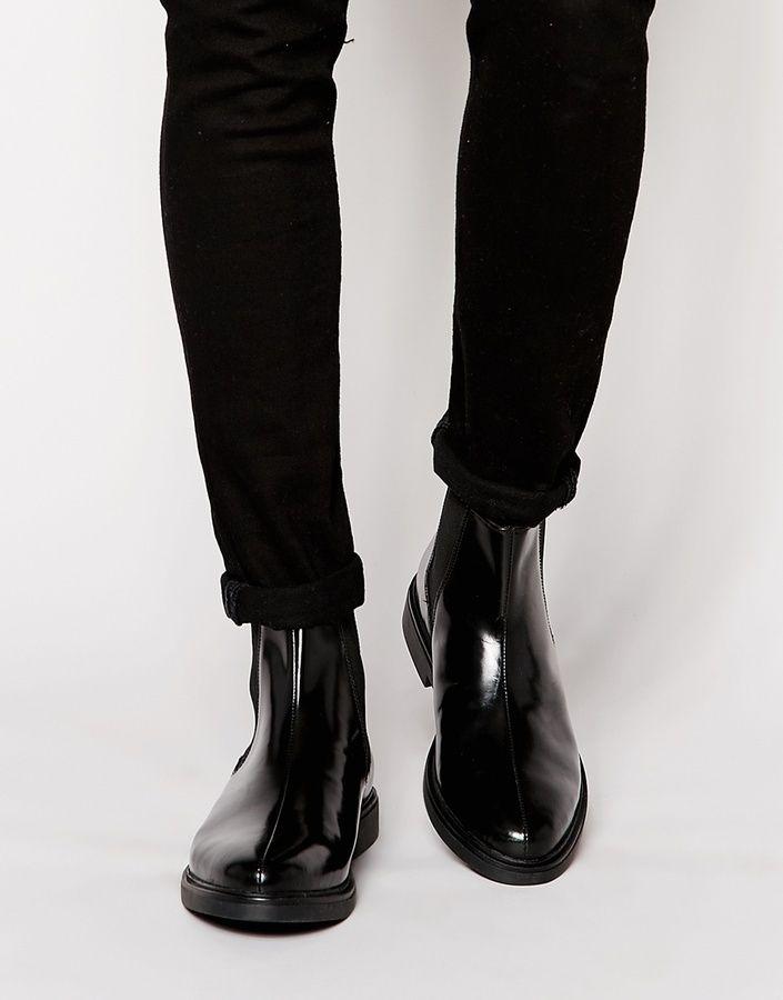 b5a9f8bb4b93fa schwarze Chelsea-Stiefel aus Leder von Base London in 2019
