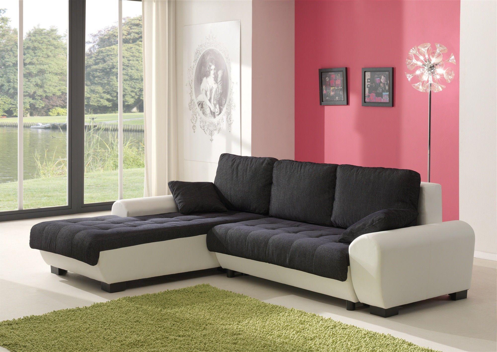 canap d 39 angle contemporain convertible en tissu coloris noir blanc iseult. Black Bedroom Furniture Sets. Home Design Ideas