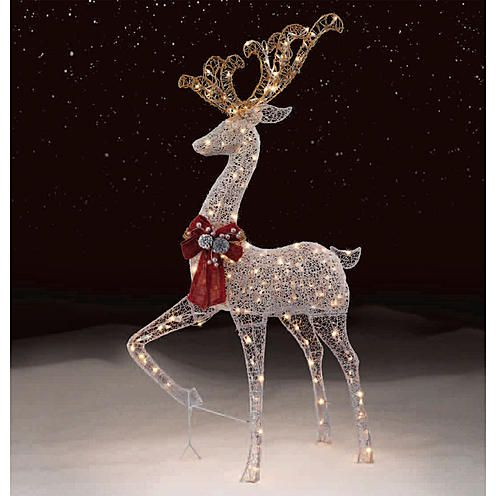 Trimming Traditions Outdoor 200 Light Silver Mesh Standing Deer Christmas Decoration Deer Decor Christmas Deer Decorations Christmas Deer