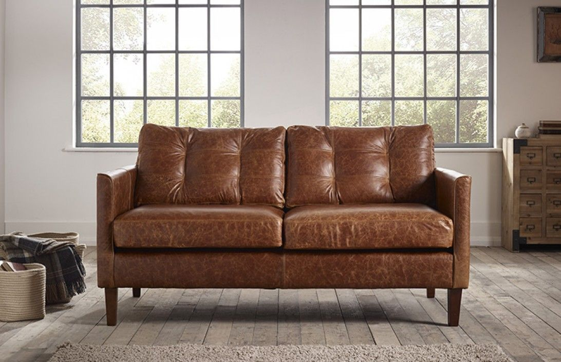 Luxury Small Brown Leather Sofa , Amazing Small Brown