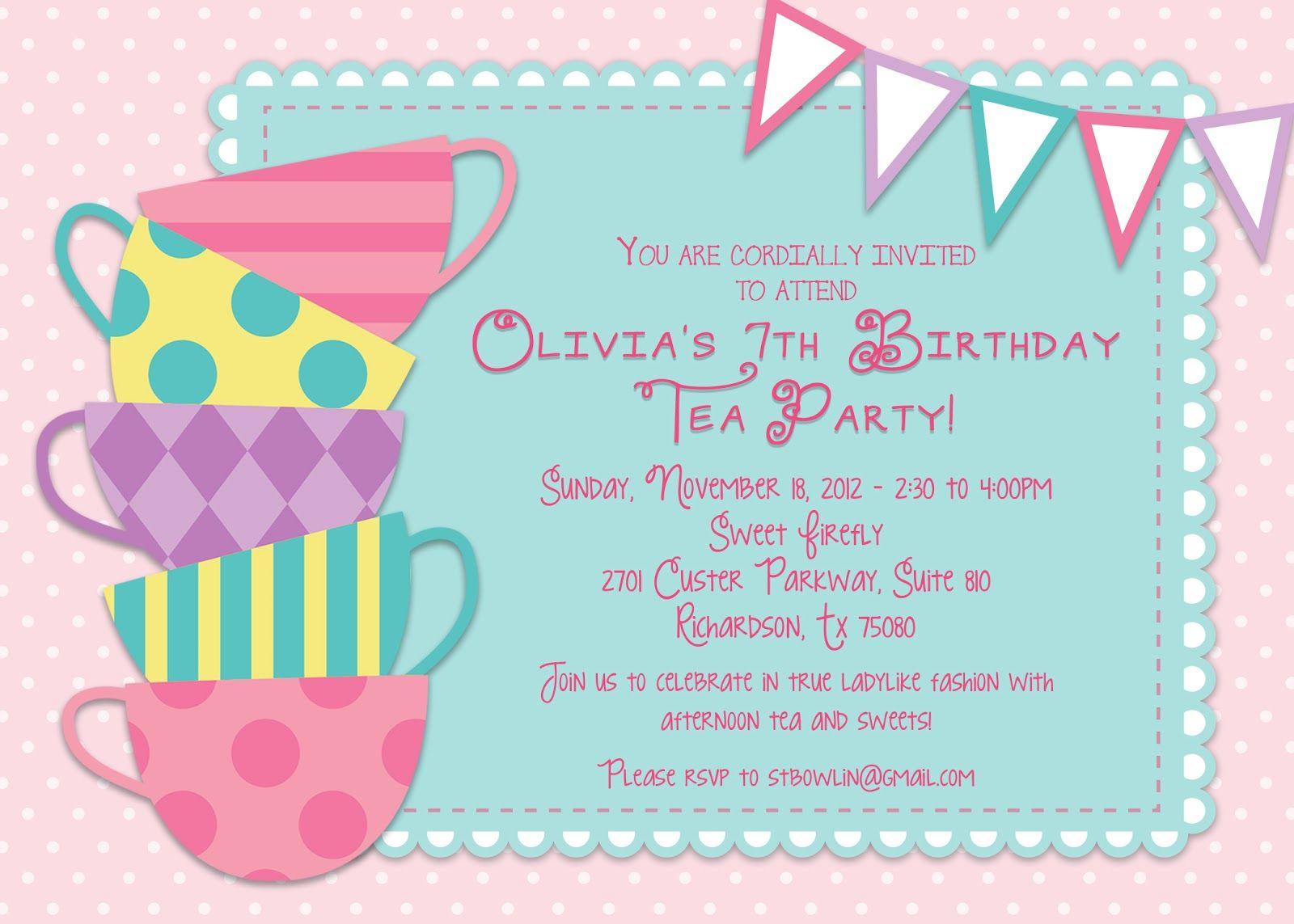 Kids Tea Party Invitations Tea Party Pinterest – Kids Birthday Party Invitation Wording Ideas
