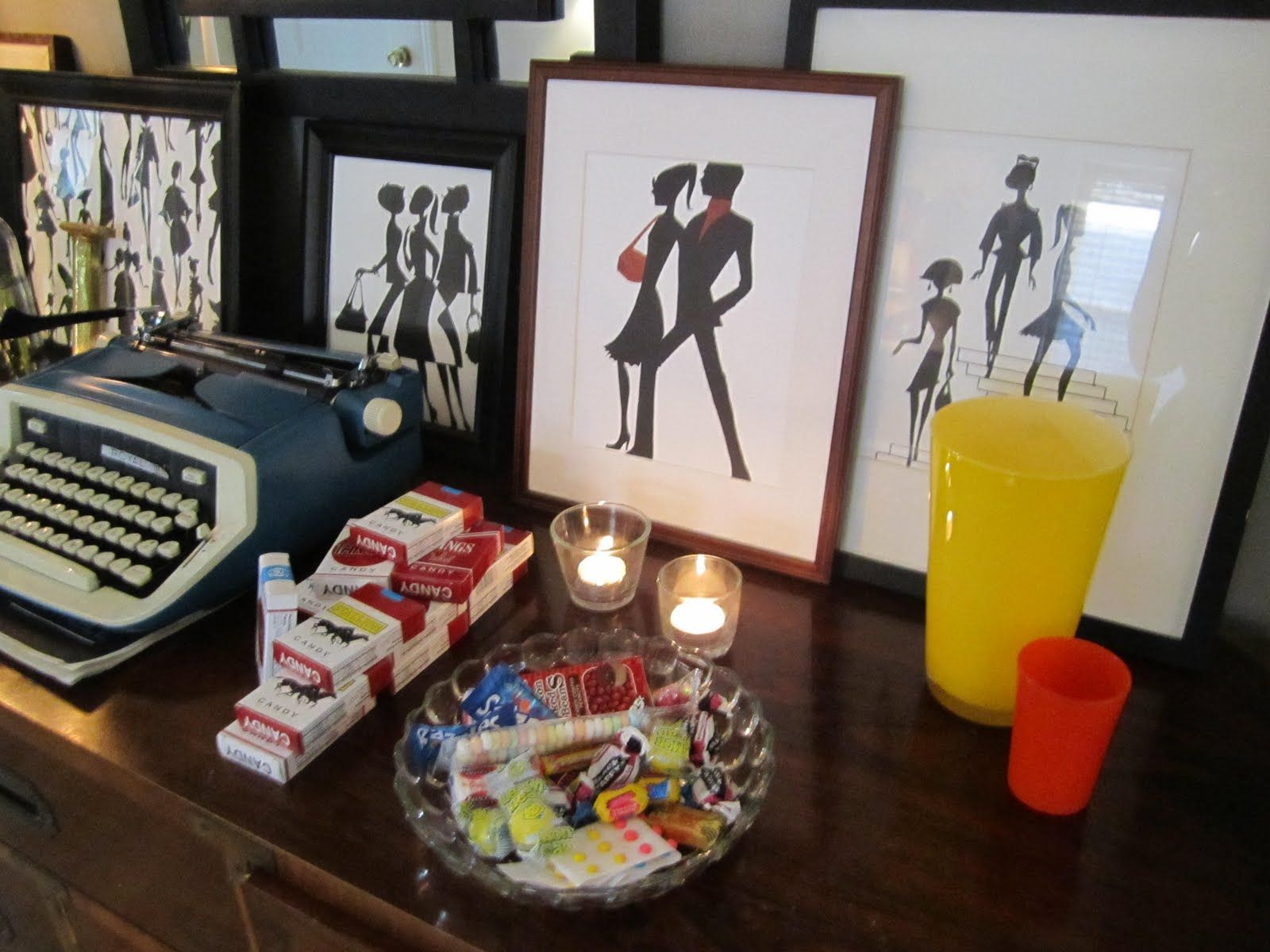 Mad Men Decor decor for a mad men party: typewriter, candy cigarettes, candy