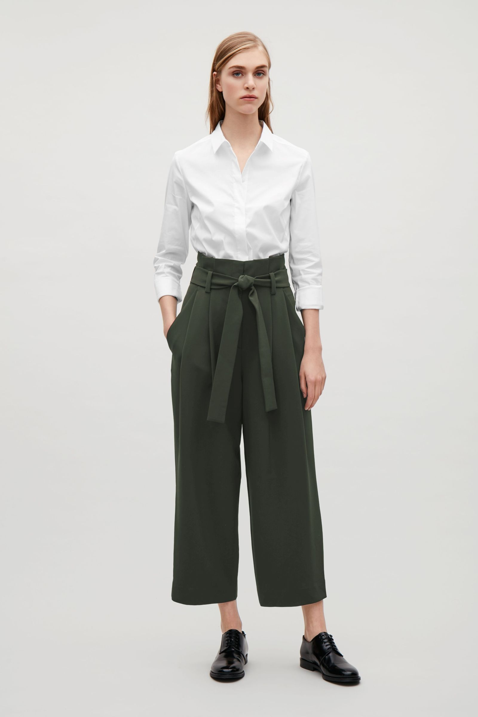 67cfb717b9 COS image 1 of Cropped Trousers with Pleats in Chartreuse | Style in ...