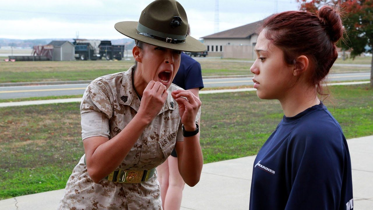 Drill Instructor Gives Civilians A Taste Of Marine Boot Camp Delayed E Drill Instructor Marines Boot Camp Bootcamp