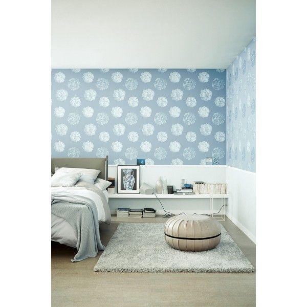 papier peint grosses fleurs paillettes bleu gris schoner. Black Bedroom Furniture Sets. Home Design Ideas