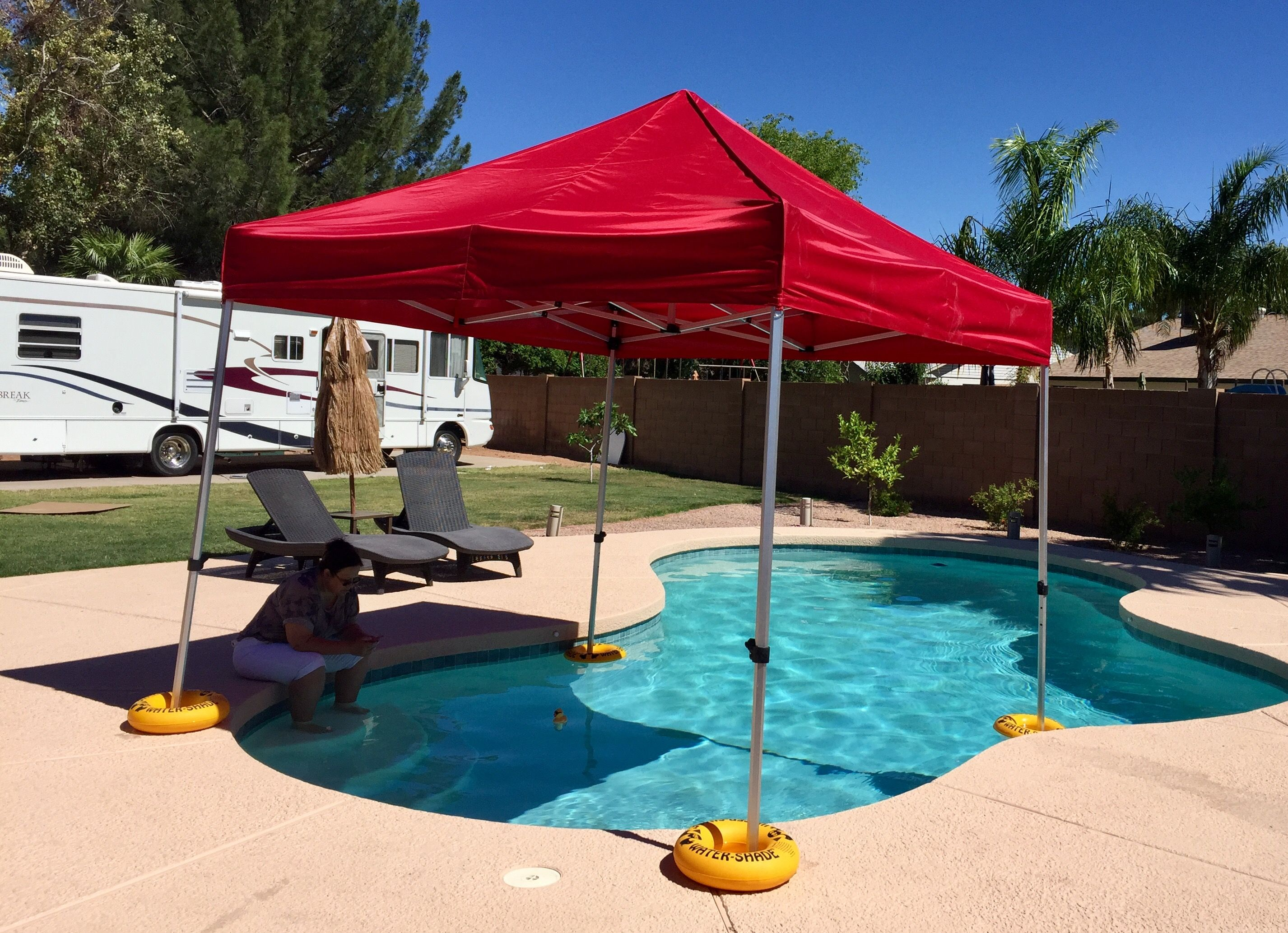 The New Water Shade Canopy Floating Kit Can Take Your Canopy Where Umbrellas Awnings Or Shelters Can T Directly Onto The Wa Pool Shade Floating Canopy Canopy
