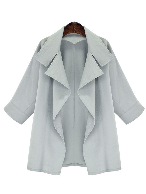Grey Lapel Long Sleeve Loose Coat Shein Sheinside Oversized Lapel Coat Loose Coats Lapel Coat