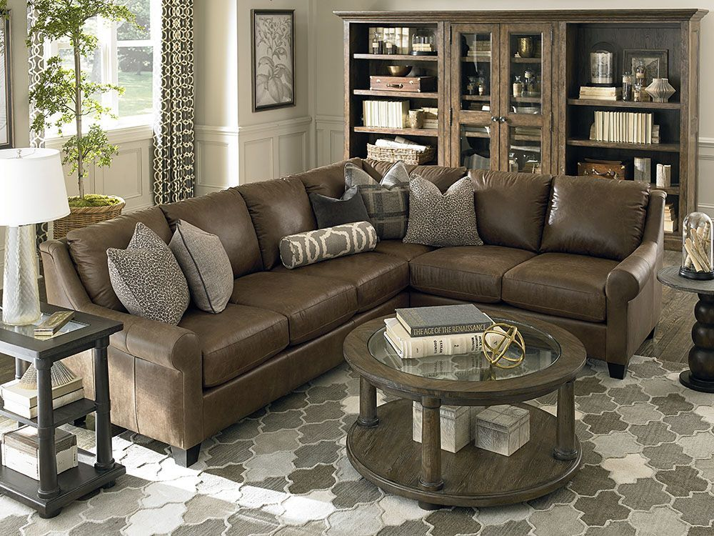 Custom Leather Ellery Large L Shaped Sectional By Bassett
