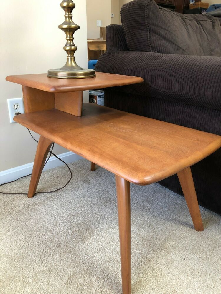 Heywood wakefield mid century modern champagne end table