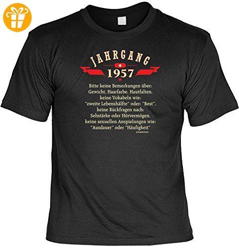 Geburtstagsgeschenk T-Shirt mit Urkunde Jahrgang 1957 Geschenk zum 60.  Geburtstag 60 Jahre Geburtstagsgeschenk