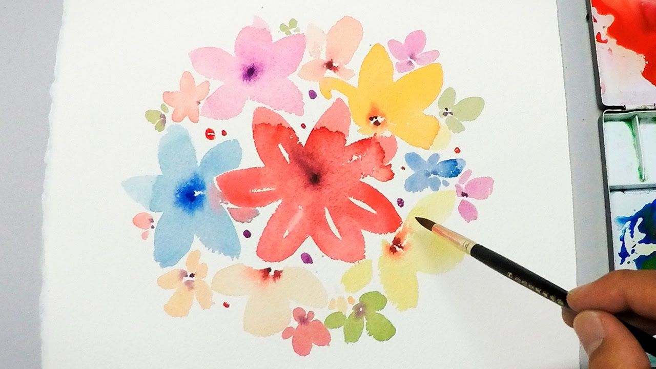 Easy watercolor canvas lvl1 watercolor tutorial painting easy simple flowers