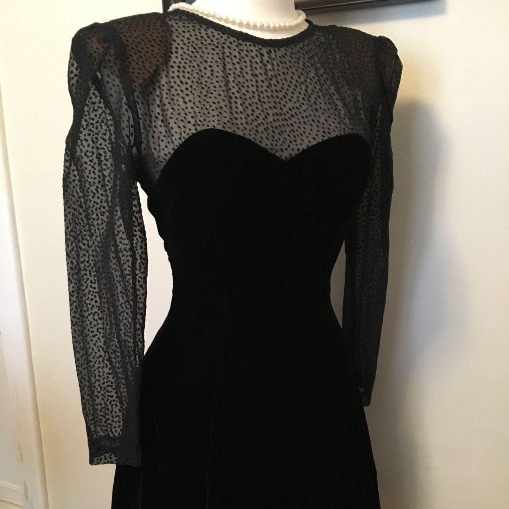 Black evening dress with sheer top u sleeves black velvet black