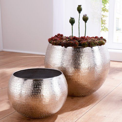 Lovely Set Of 2 Indoor Plant Pots, Aluminium, Silver By WOONIO UK