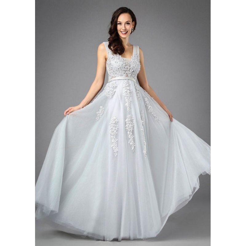 29785ffcb1df Sivé večerné šaty na ramienka z tylu Lounges
