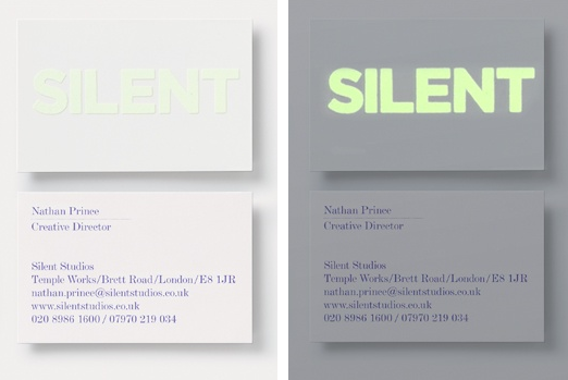 Silent Studios Business Card: The logo on their business card was silk screened with fluorescent ink. By day the logo looks like a subtle sheen and at night it is switched on to grab some attention. #glow #silentstudios #businesscard