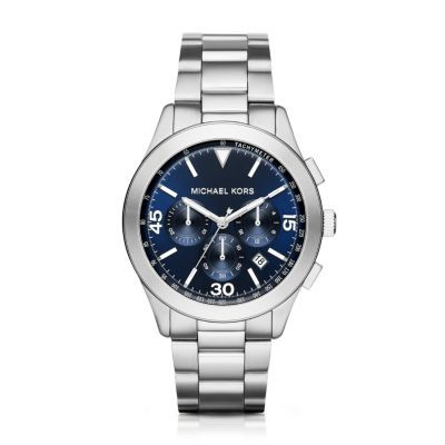 Sale 	 	Michael Kors Silver-Tone Gareth Watch The dial markers on this classic Michael Kors Gareth sport watch make a standout statement while a navy dial and stainless steel bracelet complete the look.