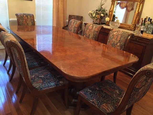 Details about Elegant Henredon Dining Room Table, 10 chairs ...